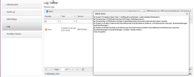 VCNS Workflow failure