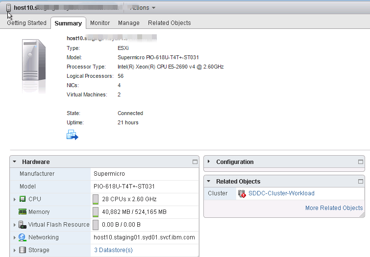 ESXi host specification